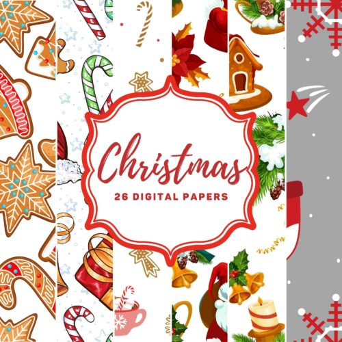 Christmas Digital Papers / Patterns - Full Commercial Use