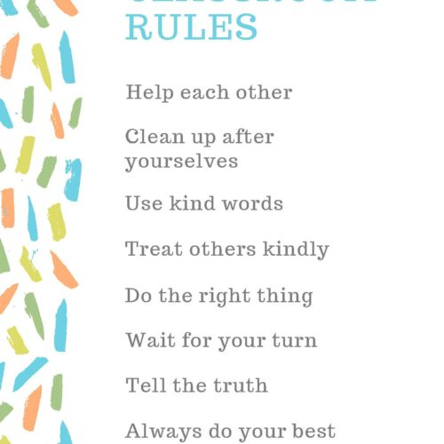 Colorful Brushstrokes Classroom Rules Poster