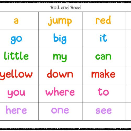 Roll and Read Dolche Pre Primer Sight Words