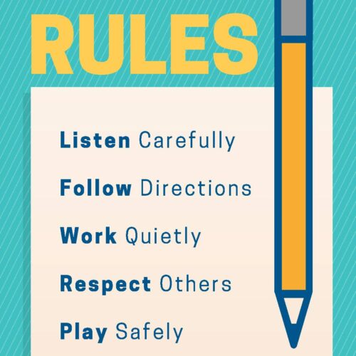 Blue and Yellow Pencil Classroom Rules Poster