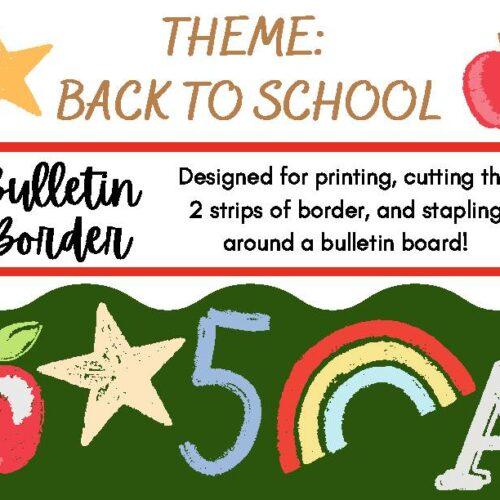 Bulletin Board Decor Border Back to School Theme