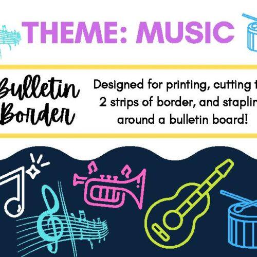 Music Themed Bulletin Board Decor Border