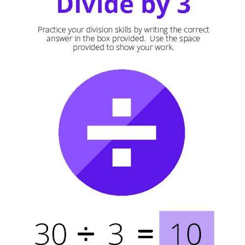 Divide by 3 Math Worksheet