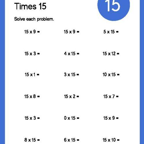 Multiplication Times 15 Worksheet