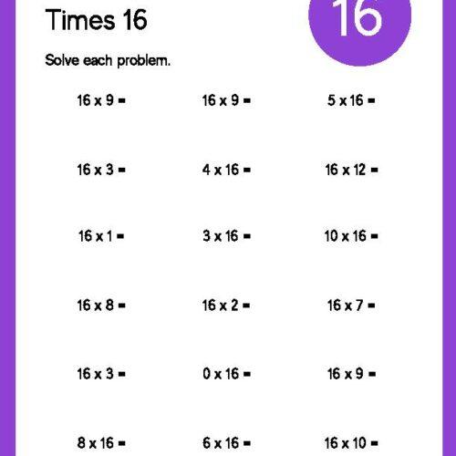 Multiplication Times 16 Worksheet