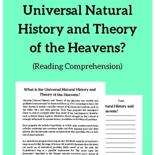 Universal Natural History and Theory of the Heavens, Reading Passage