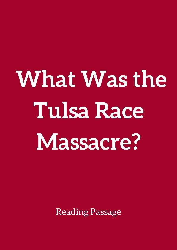 Tulsa Race Massacre, Reading Passage