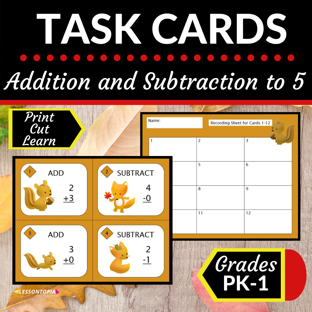 Addition and Subtraction |Up to 5 |Task Cards