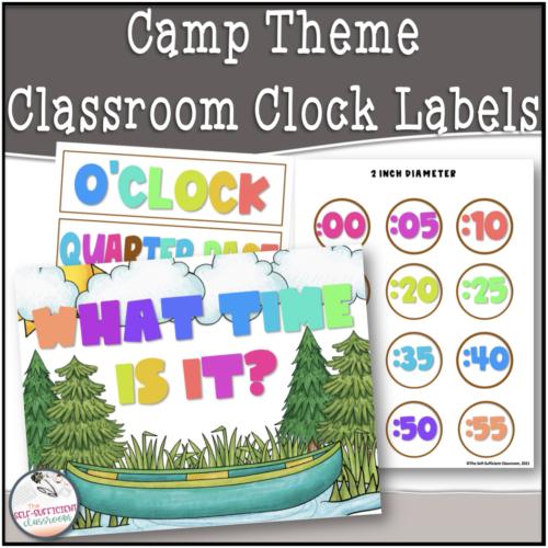 Camp Theme Clock Label Set