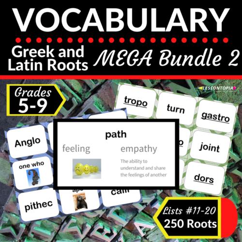 Greek and Latin Roots | Vocabulary MEGA Bundle 2 Lists 11-20