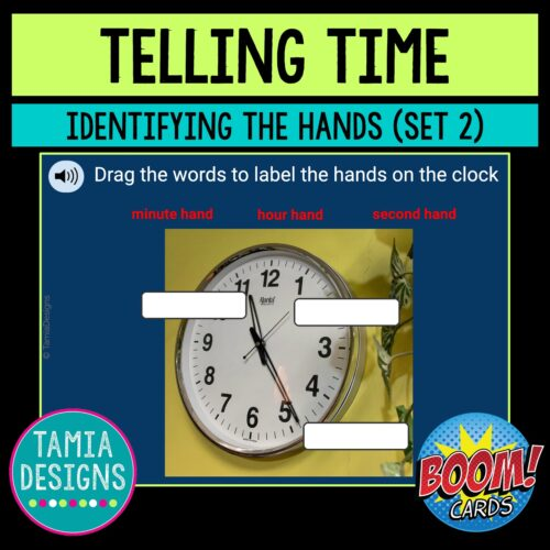 Telling time: identifying the hands on a clock (Set 2)