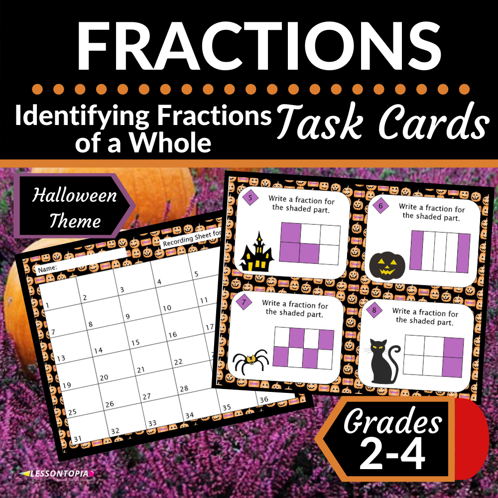 Fractions | Identifying Fractions of a Whole | Halloween Task Cards