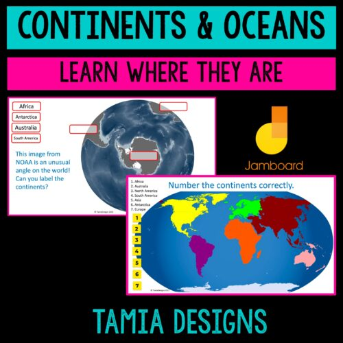 Continents and Oceans Jamboard interactive activity