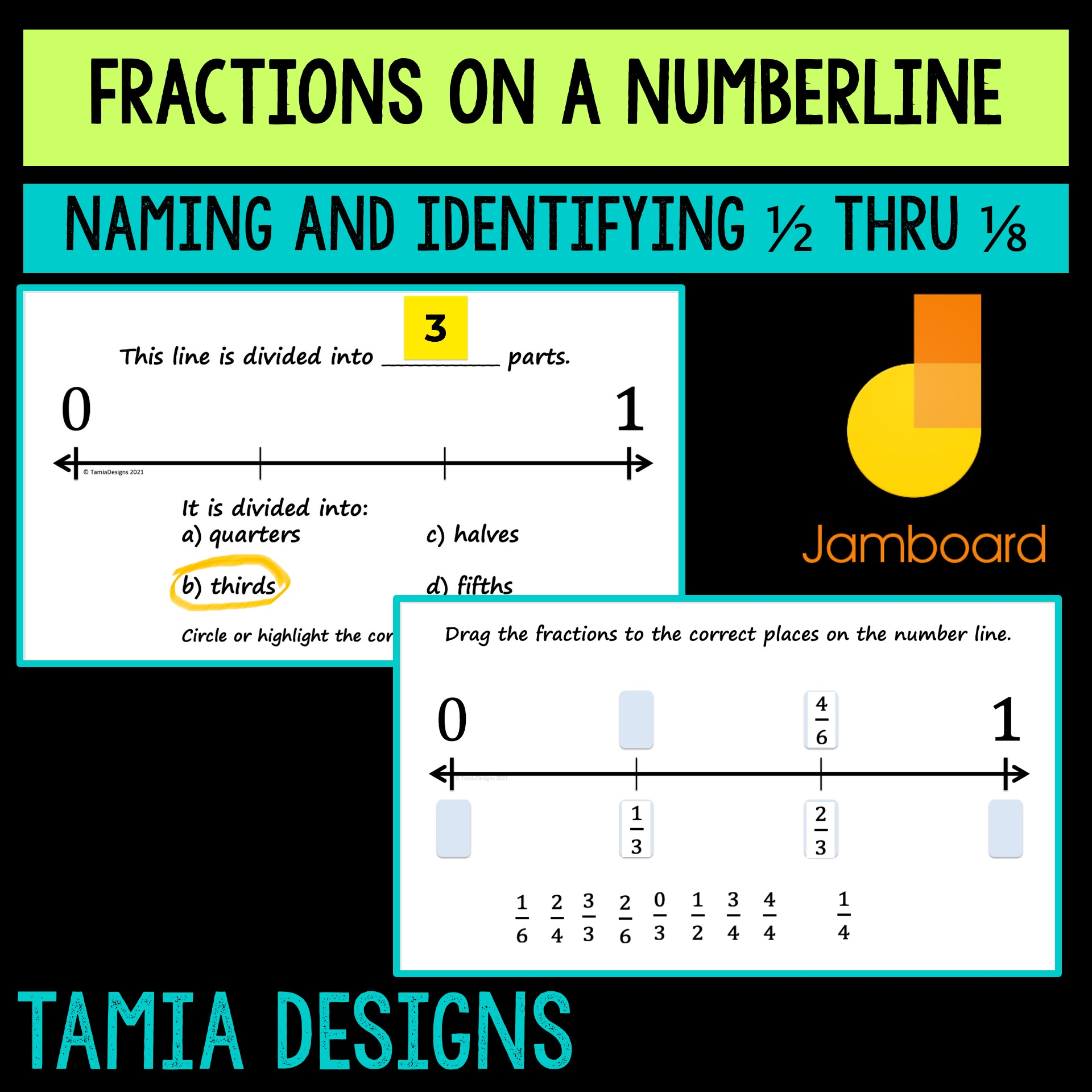 Fractions on a numberline - 1/2 through 1/8 Four Jamboard files's featured image