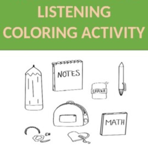 Back to School Coloring Listening Activity