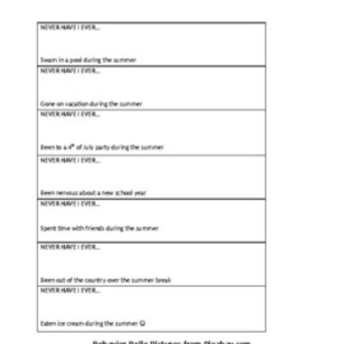 Back to School NEVER HAVE I EVER (the kids version) Social Skills FREEBIE