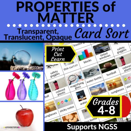 Properties of Matter | Transparent, Translucent, Opaque | Card Sort