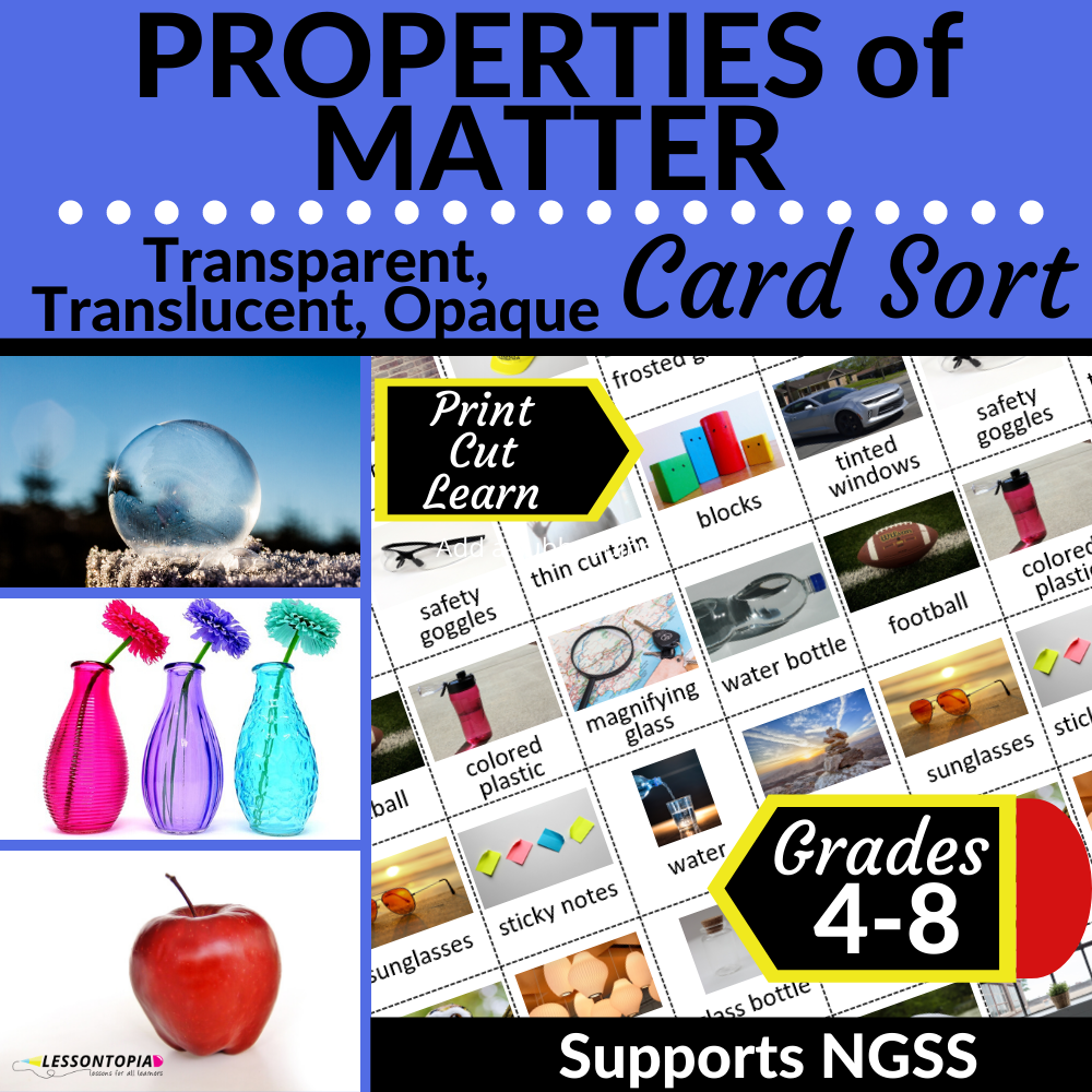 Properties of Matter   Transparent, Translucent, Opaque   Card Sort