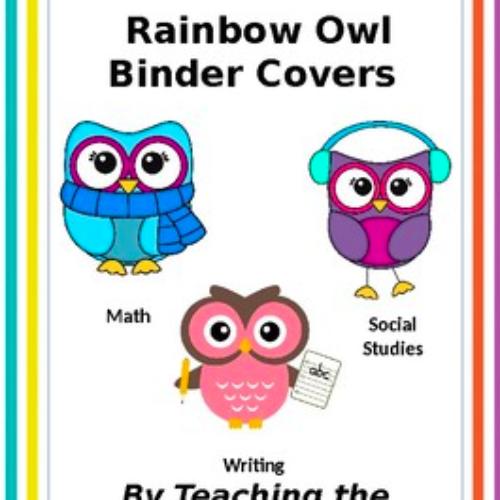 Editable Rainbow Owl Classroom Binder Covers
