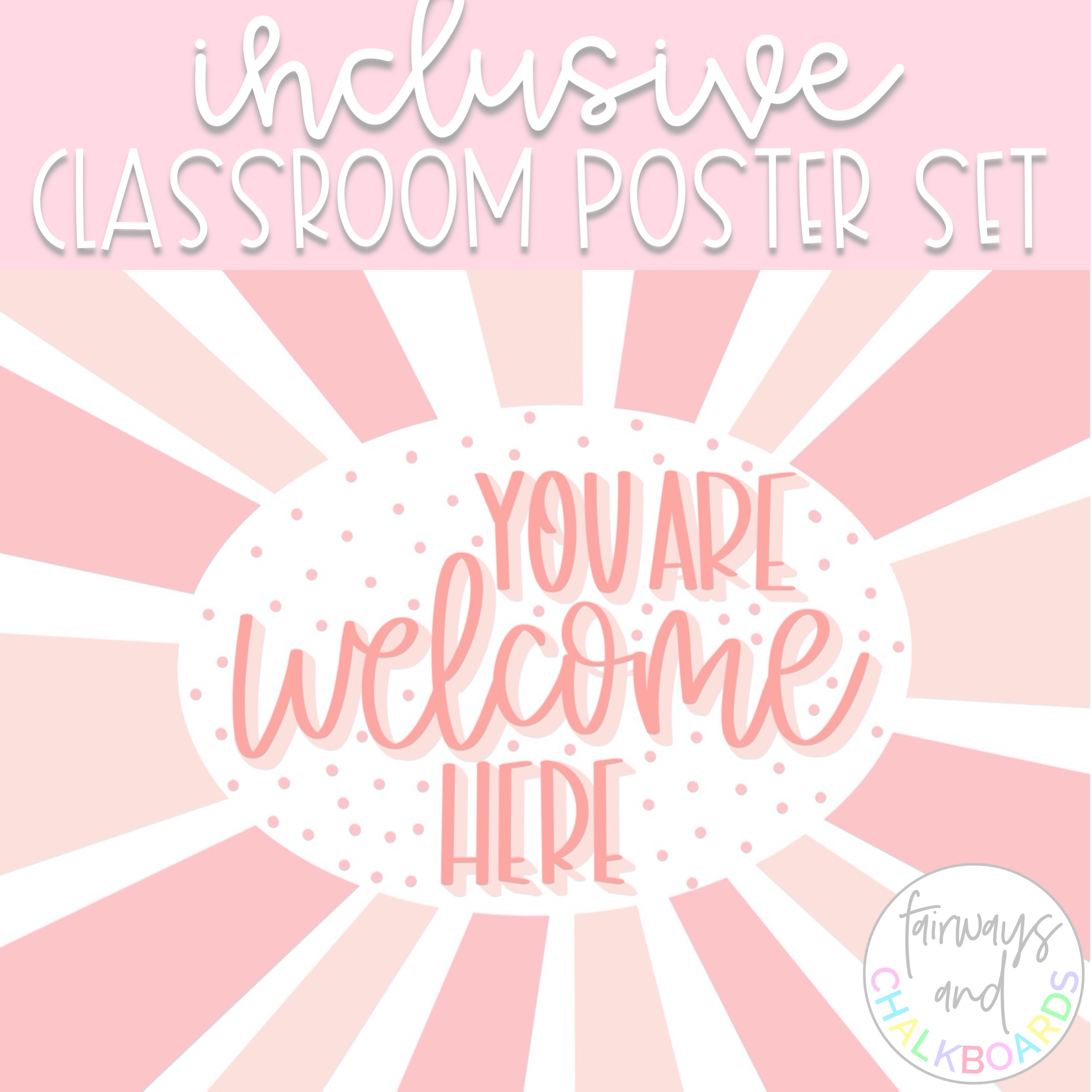 Inclusive Classroom Poster Set   PINK Aesthetic