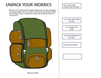 Back to School: Unpack Your Worries Craft (Social-Emotional Learning)