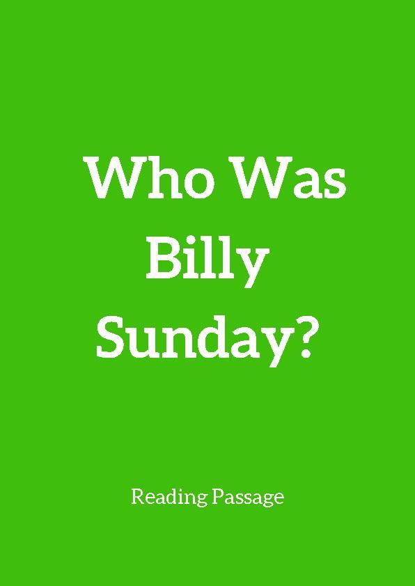 Billy Sunday, Reading Passage