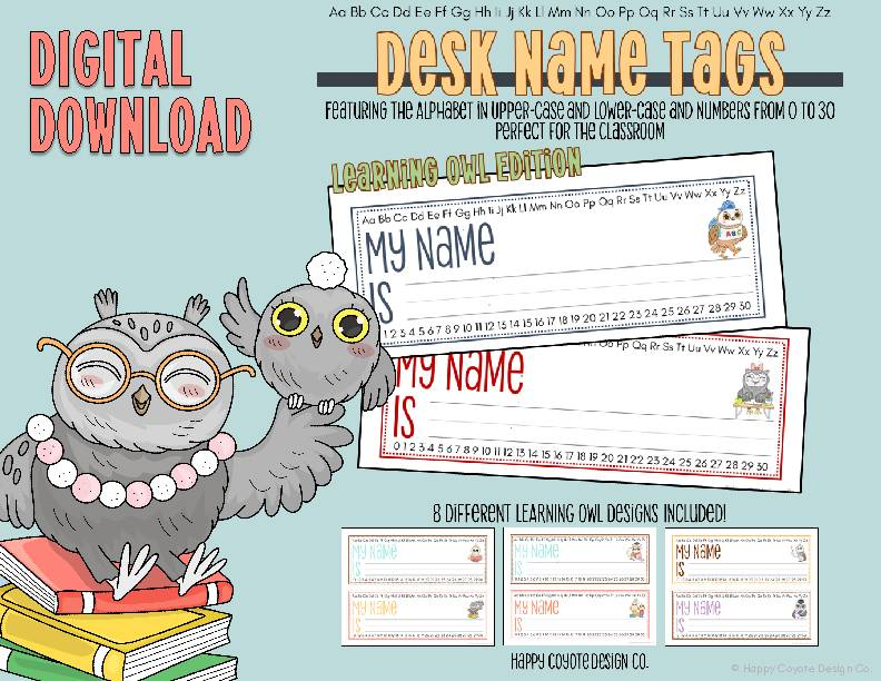 8 Desk Name Tags | Back to School | Learning Owl Edition | Uppercase & Lowercase Alphabet and Number Counting 0-30 | Digital Download