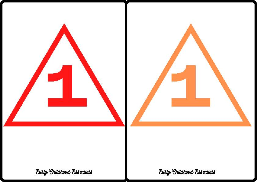 Triangle Flashcards / 10 colors and numbers 1-10 / 100 cards