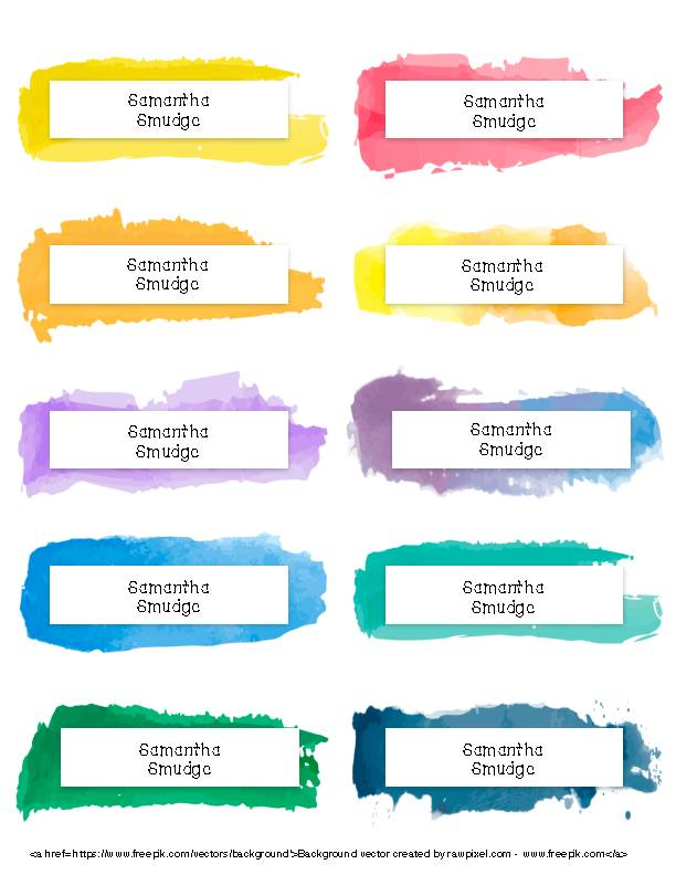 Watercolor Frame Labels 2x4