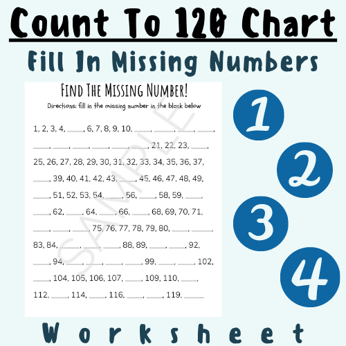 Count To 120 Chart (Fill In Missing Numbers) Printable [1st Grade] For K-5 Elementary School Grade Teachers