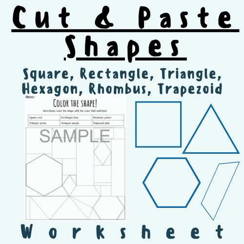 Cut & Paste/Fill In Shapes Puzzle: Squares, Rectangles, Triangles, Hexagons, Rhombuses, and Trapezoids