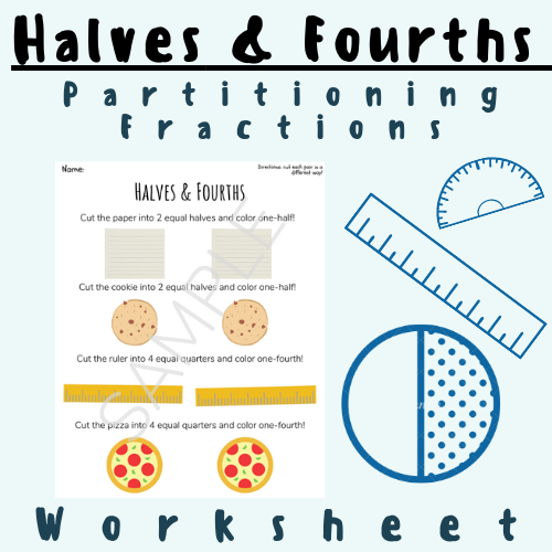 Cut The Objects Into Halves & Fourths Partitioning Fractions (One-Quarter, One-Half) For K-5 Math Elementary School Grade Teachers and Students