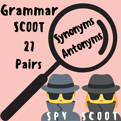 Synonyms and Antonyms Task Cards/Scoot [Spy Themed]