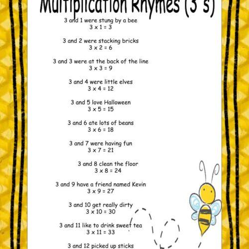 3's Multiplication Rhymes