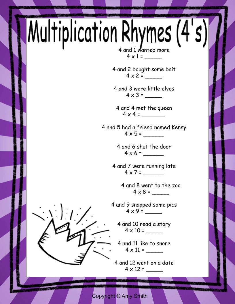 4's Multiplication Rhymes