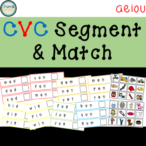 CVC Segment & Match Image - aeiou