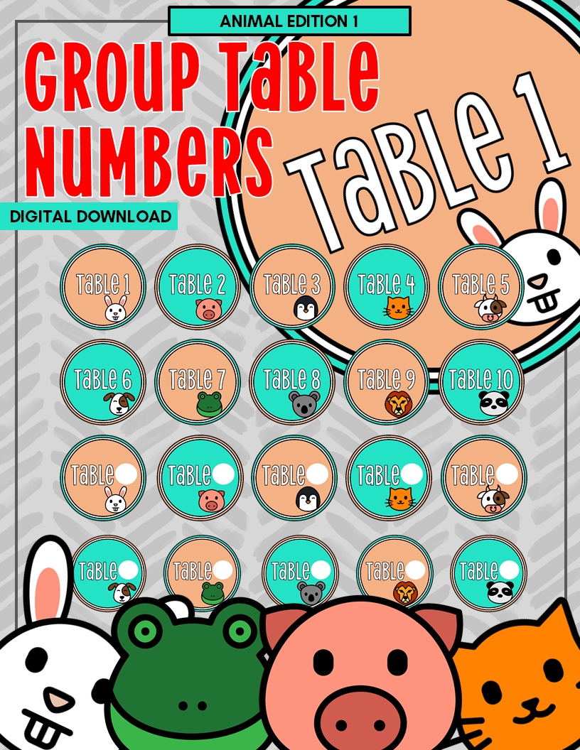Group Table Numbers 10 Student Groups | Blank and Numbered Sets | DIGITAL DOWNLOAD | Animal Edition 1 | Elementary Classroom