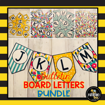 Printable Flower and Stripes Yellow Green and Blue Bunting Bulletin Board Letters Bundle