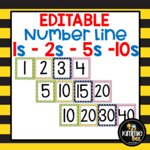 Editable Math Skip Counting Number Lines 1s 2s 5s 10s