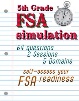FSA Simulation for 5th Grade Math: 64 qsts; NO PREP TEST PREP! Print and go! Includes answer key.