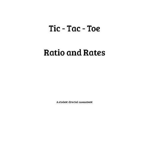 Ratios and Rates - Tic-Tac-Toe