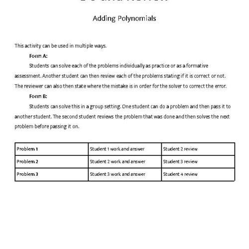Adding Polynomials - Do & Review