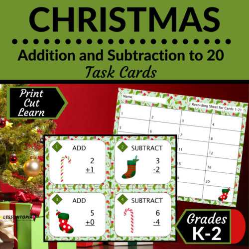 Addition and Subtraction Within 20   Task Cards   Christmas