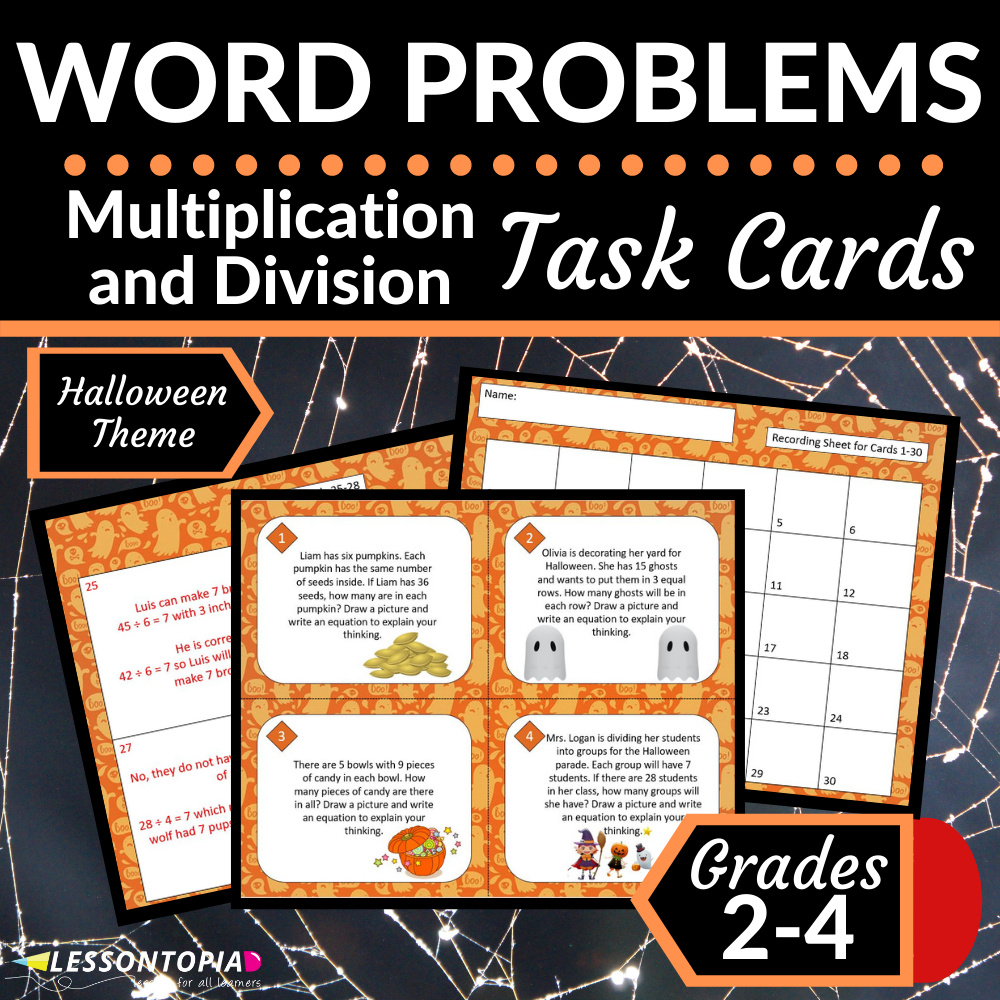 Multiplication and Division Word Problems | Halloween Task Cards