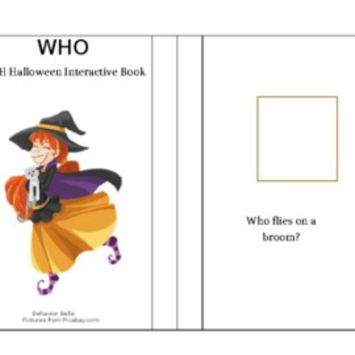 WH Questions- WHO Halloween Edition Adapted- Interactive Book (ABLLS-R Aligned)
