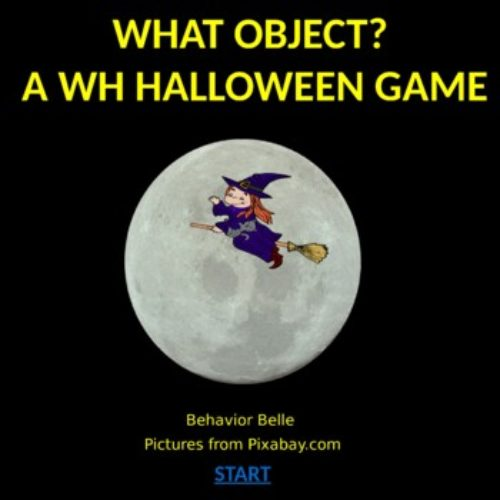 WH Questions (What Object?) Halloween Edition PowerPoint Game (Virtual Game)