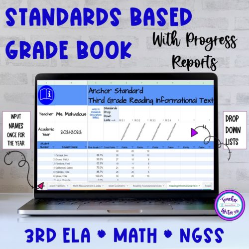 Standards Based Grade Book in Google Sheets for Third Grade