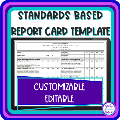 Standards Based Report Card Template for Quarters