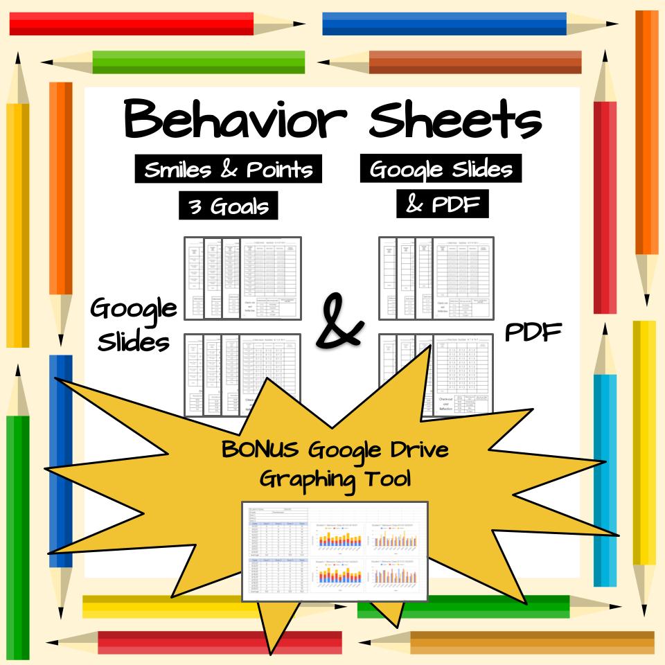 Behavior Charts | EDITABLE | 3 Goals | Smiles & Points | Google Slides & PDF
