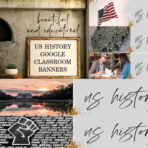 US HISTORY GOOGLE Classroom Banners // Teacher Resources // Google Classroom Banners // Virtual Learning // United States // High School
